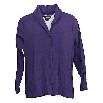 Carole Hochman Women's Sweater Petite Cozy Knit Cardigan Purple A381868
