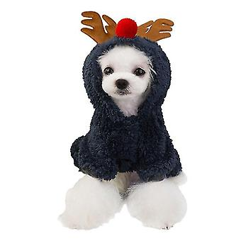 Carino cartone animato animale domestico costume Natale Renna Cosplay Inverno caldo cappuccinato Soft Coral Fleece Pet Suit
