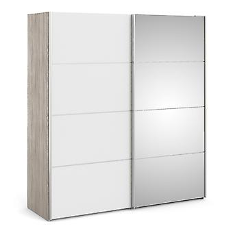 Phillipe Sliding Wardrobe 180cm In Truffle Oak With White And Mirror Doors With Two Shelves