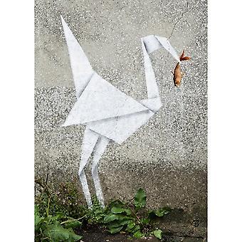 Gemälde-Inspirationen Autor Bansky Origami mehrfarbig in Holz, Baumwolle, L70xP100xA3 cm