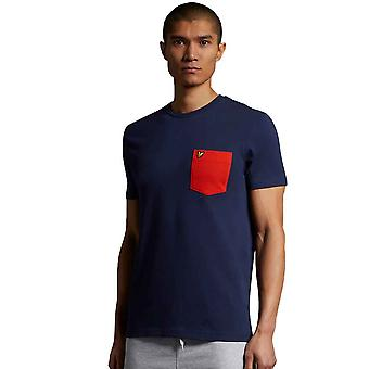 Lyle & Scott Contrast Pocket T-Shirt - Navy/Burnt Orange