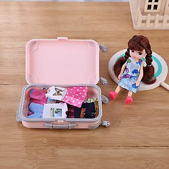 Plastic Travel Train Suitcase, Luggage For Barbie, Doll Toy Kid Play House,