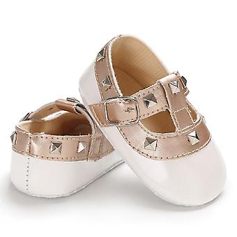 Baby Bow Princess Soft Sole Crib Leather Solid Buckle Strap Flat Shoes