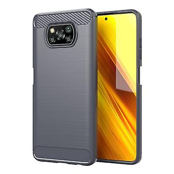 Stuff Certified® Xiaomi Poco X3 Pro Case - Carbon Fiber Texture Shockproof Case Rubber Cover Gray