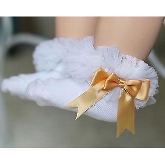 Vauvan sukat rusetti pitsi röyhelö
