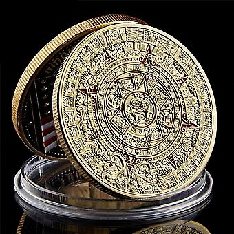 Mexico Mayan Aztec Calendar Art Prophecy Culture Gold Coins Collectibles