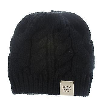 2 PCS Zimné deti Twist Teplé pletené čiapky jednofarebné horsetail čiapka, Veľkosť: Jedna veľkosť (Čierna)