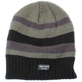 FLOSO Mens Striped Thermal Thinsulate Winter Hat (3M 40g)
