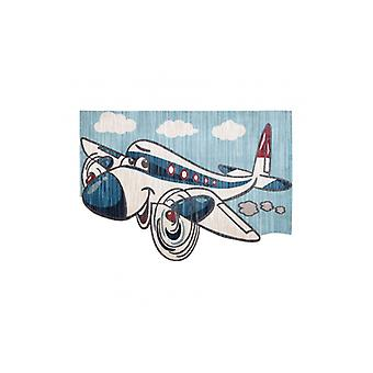 Children's rug TOYS 75320 Plane for children - modern, irregular shape, 3D effect, navy blue - turquoise / cream