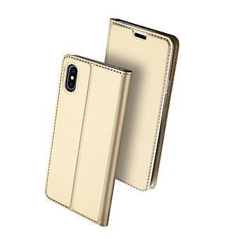 Dla iPhone xs przypadku odporne anty spadek klapka klapa okładka złoty