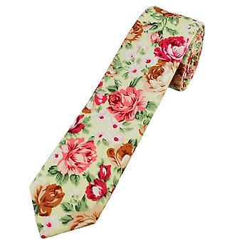 Krawatten Planet Zitrone gelb, rosa, braun, weiß & grün Blume gemusterte Baumwolle jungen Krawatte