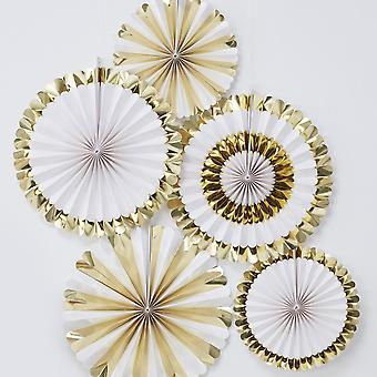 Gold Baby Shower Fan Decorations| Oh Baby! Foiled Gender Neutral Unisex x5