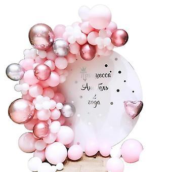 Juhla häät syntymäpäivä juhla ilmapallot koristeet 109kpl vaaleanpunainen hopea lateksi
