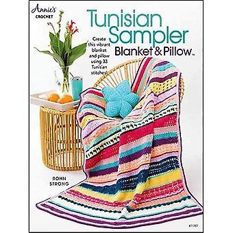 Manta e Travesseiro de Sampler da Tunísia: Crie este cobertor vibrante e travesseiro usando 33 pontos tunisianos!