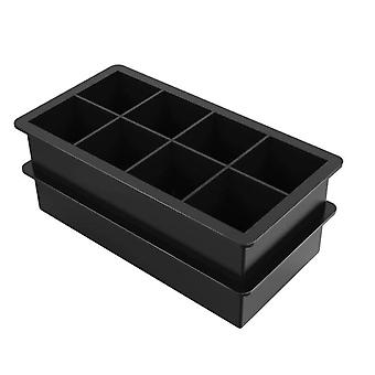 8 grid square ice cube tray mold ice cube silicone mold DIY ice cream making mold(Black)