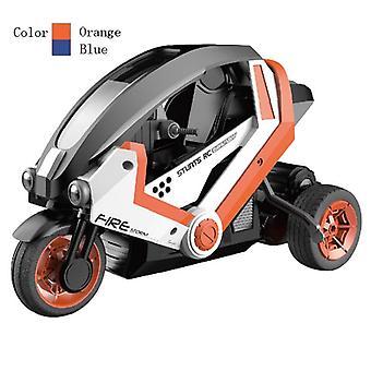 Control remoto del coche acrobacias motocicletas eléctricas de los niños Racing Juguetes de moto para el niño Regalo (Naranja)