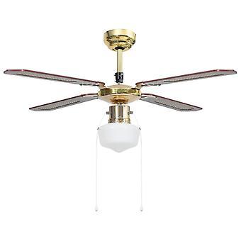 vidaXL ventilateur de plafond avec lampe 106 cm Brun