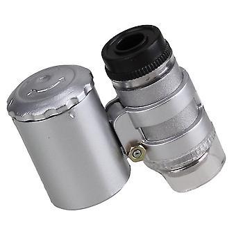 לצבע כסף 9882 2LED 60x כיס מיקרוסקופ נייד זכוכית מגדלת WS208