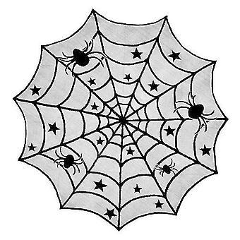 الدانتيل مفرش المائدة العنكبوت الأسود ويب لهالوين حزب Decoraiton