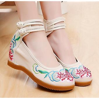 Women's Ethnic Chinese Embroidery High Heel Dancing Shoes