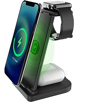Беспроводное зарядное устройство 3 в 1, Быстрая QI Беспроводная зарядная станция Стенд Док-станция Совместимая с iPhone 12/12 Pro Max/11/X/XS Max/10/9/8 Plus QI Android Phone AirPods 2/Pro Apple Watch 2/3/4/5/6/SE,(черный)
