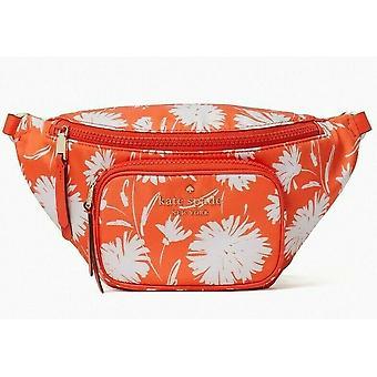 Kate Spade Dorian Belt Bag Orange White Flower Nylon WKRU6591
