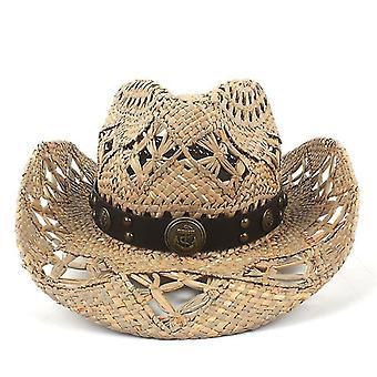 Natural de paie handwork țese Cowboy Pălării pentru Lady Dad de vară de Vest
