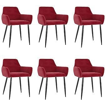 vidaXL dining chairs 6 pcs. wine red velvet