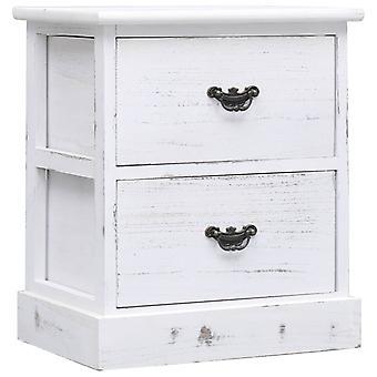 vidaXL Bedside Table White 38x28x45 cm Paulownia Wood