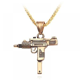 Mens 925 Sterling Silve Uzi Necklace Pendant With Chain - 22 Inch