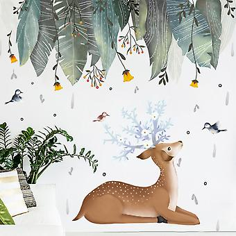 Leaves Deer  Wall Sticker Decals (size:118cm X 118cm)