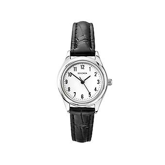 Sekonda 4491 Silver And Black Leather Ladies Watch