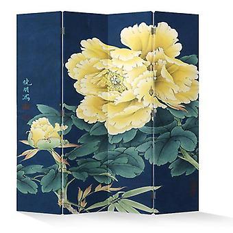 Fine Asianliving Room Divider Privacy Screen 4 Panneaux W160xH180cm Pivoines Jaunes