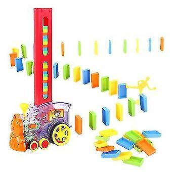 الأطفال دومينو قطار مجموعة بناء كتلة لعبة التفاعلية DIY لعبة دومينو للأطفال