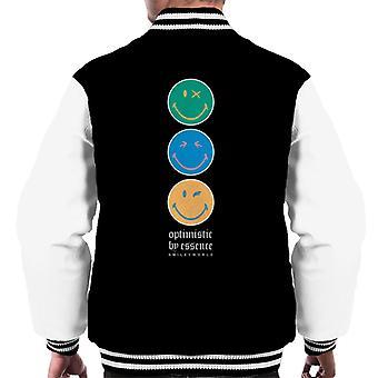 Smiley World Optimistic By Essence Men's Varsity Jacket