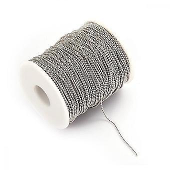 Rostfritt stål boll pärla kedja för smycken Making5m Lång + 1 rulle 2mm Kulpärla Kedja