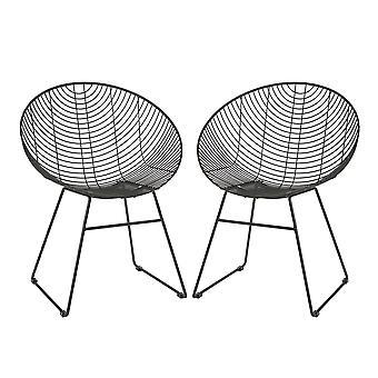 2x Filo di metallo Sedie a sdraio Scrivania industriale Mobili Accent Chair Nero