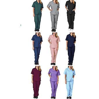 Uniforme d'infirmière décontractée, uniforme de gommage d'allaitement de couleur unie pour femmes