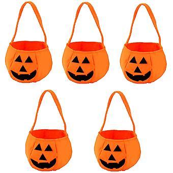 5pcs Halloween Tote Bag Trick Or Treat Bag Kürbis Süßigkeiten Vlies Tasche Geeignet für Kinderparty