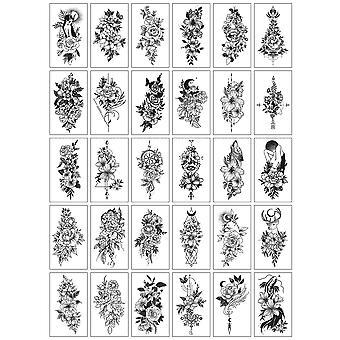 30pcs / set Tatuajes Temporales Sexy Fake Tattoo für Frau Hände Arm Körper Wasserdicht Temporäre Tattoos Tatouage Temporaire Femme