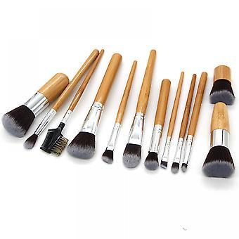 12pcs Bamboo Handle Makeup Brush Set Eye Shadow Brush Blush Brush Beauty Tool