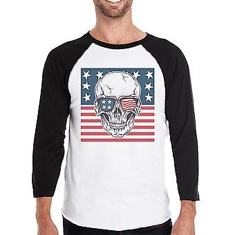 Kallo Yhdysvaltain lipun miesten Black Raglan paita 3/4 hiha Crewneck