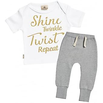 Spoilt Rotten Shine Twinkle Twist Repeat T-Shirt & Joggers Outfit Set