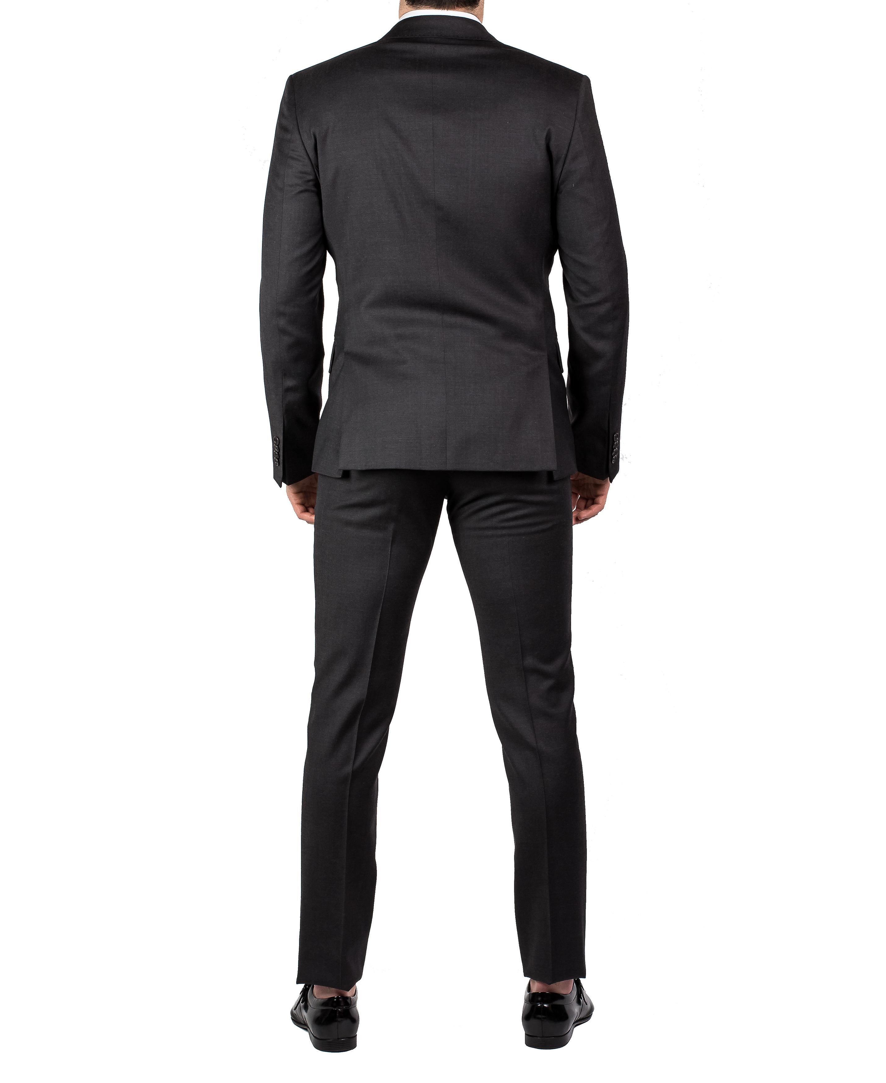 Luciano Barbera Club Men's Slim Fit Wool Two Button Graphite Grey