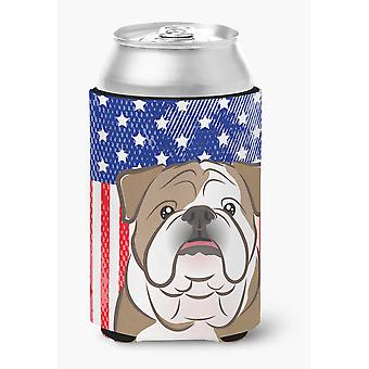 American Flag and English Bulldog  Can or Bottle Hugger