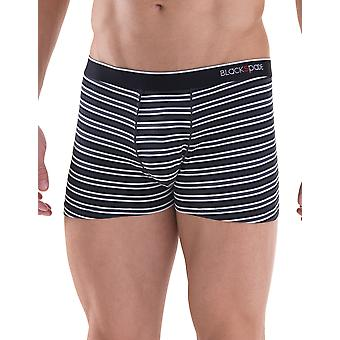 BlackSpade Stripe and Plain 2 Pack Black Modal Cotton Mens Boxers M9551