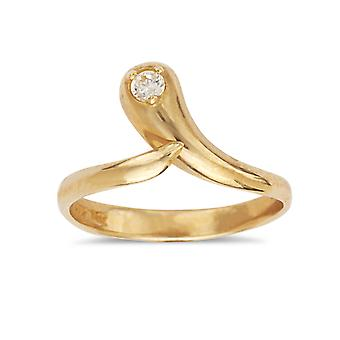 14k Yellow Gold Cubic Zirconia Top Adjustable Snake Shape Body Jewelry Toe Ring Jewelry Gifts for Women