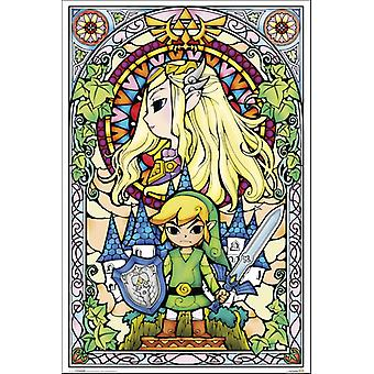 Zelda - manchado vidrio cartel Poster Print
