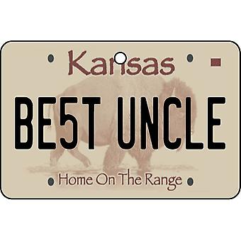 Kansas - Best Uncle License Plate Car Air Freshener