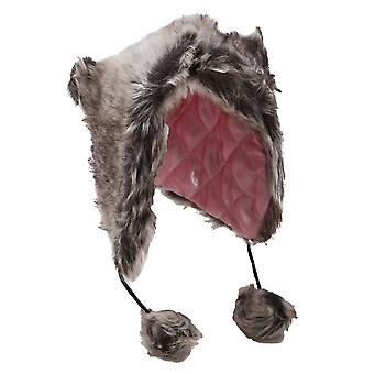 Womens/Ladies Allover Faux Fur Thermal Trapper/Ski Hat With Quilted Lining